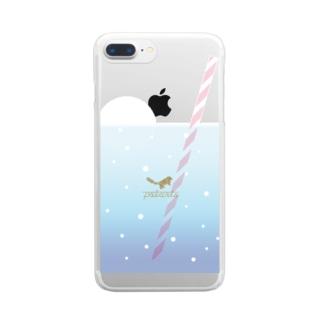 クリームソーダなスマホケース_blue Clear smartphone cases