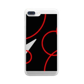 nyoroの赤い波紋のスマホケース Clear smartphone cases