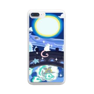 満月とねずみと花 Clear smartphone cases