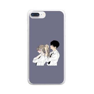 カップルスマホケース くすみブルー Clear smartphone cases