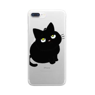 黒猫のチビ Clear smartphone cases