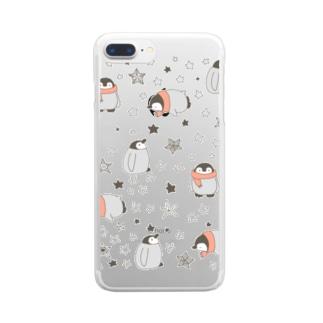 お星さまとペンギン Clear smartphone cases