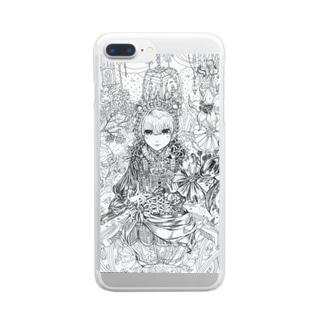 スプーンの女王(白黒) Clear smartphone cases