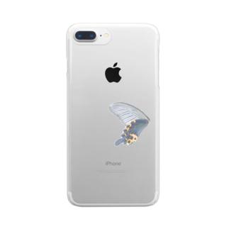 黒揚羽の翅 Clear smartphone cases