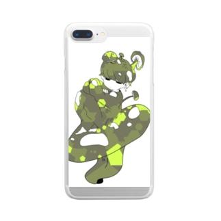 きのこのほうしくん/緑 Clear smartphone cases