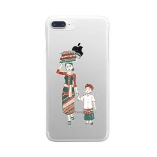 【バリの人々】お母さんと子供 Clear smartphone cases