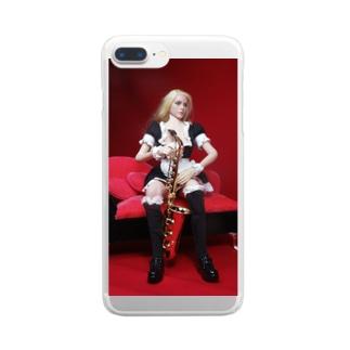 ドール写真:サクソフォンを持つブロンドメイド Doll picture: Blonde maid with a saxophone Clear smartphone cases