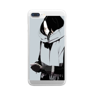 マフラーgirl Clear smartphone cases
