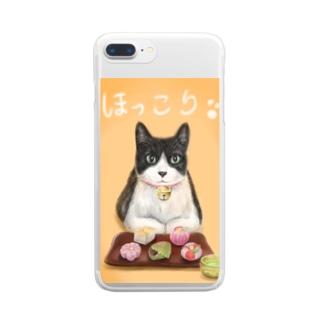 茶屋猫 上生菓子 Clear smartphone cases