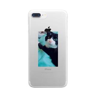 白黒ヌコのステちゃん Clear smartphone cases