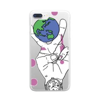 地球をピースではさむ Clear smartphone cases