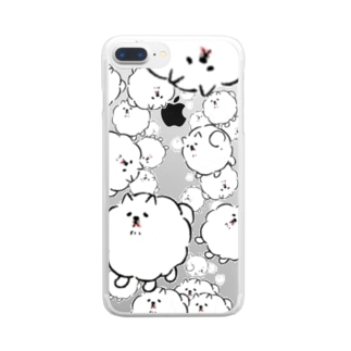 せまり来る犬 Clear smartphone cases