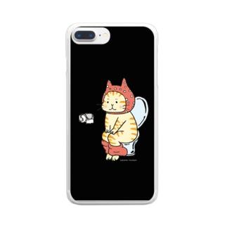 トイレねこ(オレンジ・茶トラ) Clear smartphone cases