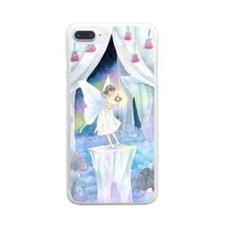 月の妖精-祈り- Clear smartphone cases