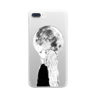 full moon🌙 Clear smartphone cases
