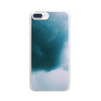 不穏な空にカラス Clear smartphone cases