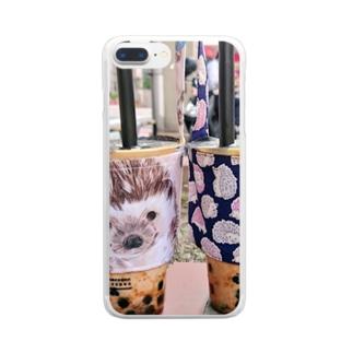 ハリネズミとタピオカ Clear smartphone cases