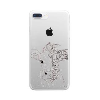 幾何学模様と牛 Clear smartphone cases