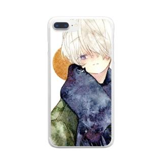 マフラー少年Aスマホケース Clear smartphone cases