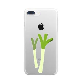ねぎ・長ネギイラストグッズ【果物・お野菜シリーズ】 Clear smartphone cases