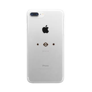 ひよこのもり工房のかぶるとあなたもひよこさん(淡色用) Clear smartphone cases