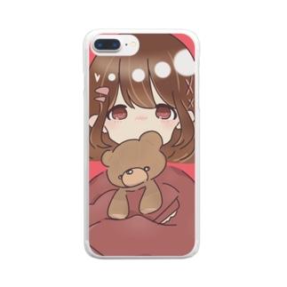 ぴんく!くま Clear smartphone cases