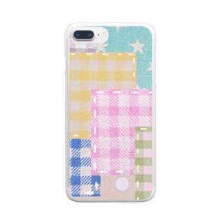 ミルキーパッチワーク風♡ Clear smartphone cases