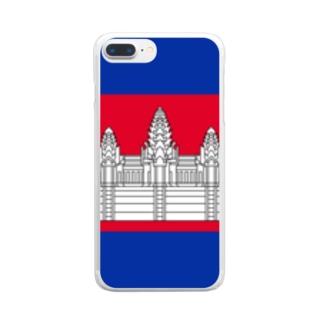 大のカンボジア国旗 胸ロゴ Clear smartphone cases