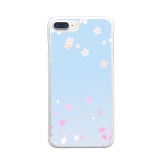 花柄 桜 2-2 ブルー #109 Clear smartphone cases