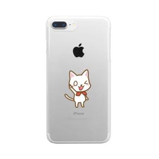 白ねこ公式キャラクター Clear smartphone cases