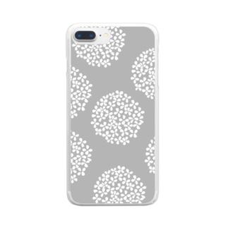 北欧 花柄 アジサイ 1 グレー #209 Clear Smartphone Case