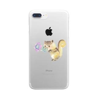 はい、どーじょ。_デジタルお花編_ Clear smartphone cases