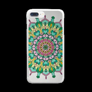 saiko-ruiのマンダラGREEN Clear smartphone cases