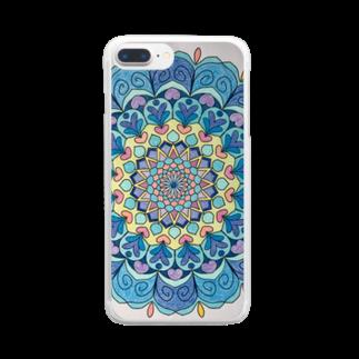 saiko-ruiのマンダラBLUE Clear smartphone cases