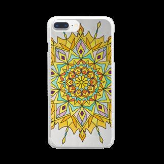 saiko-ruiのマンダラYELLOW Clear smartphone cases