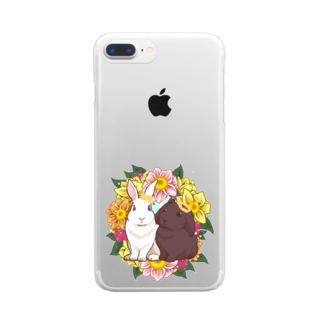 Lichtmuhleのうさぎとリース Clear smartphone cases