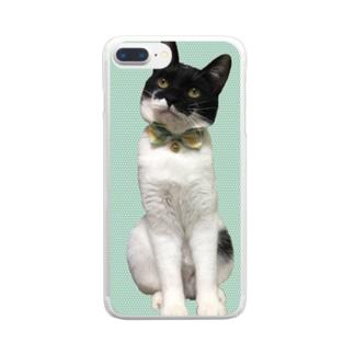 梅田ぽんたろー緑ドット猫 Clear smartphone cases