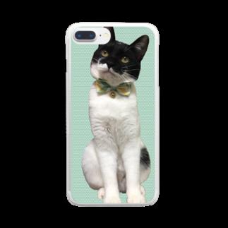 みくせんせの梅田ぽんたろー緑ドット猫 Clear smartphone cases