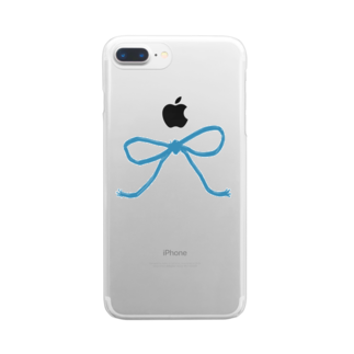 kirin.boutiqueの青いリボン Clear smartphone cases