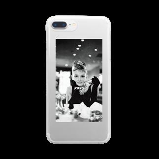 Xoxoのxoxo オードリーヘップバーンver Clear smartphone cases
