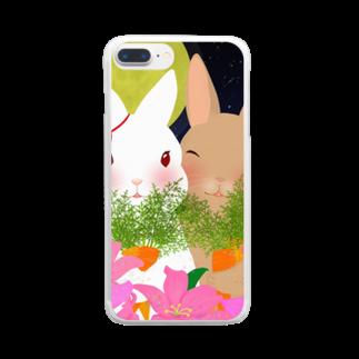 asahiyoruaの月見ちゃん仲良しグッズ Clear smartphone cases