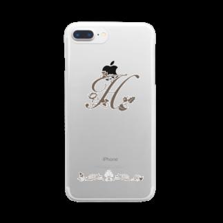 sonoteniのアルファベット イニシャル ボタニカル H #136 Clear smartphone cases
