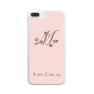 sonoteniのアルファベット イニシャル ボタニカル ピンク M #141 Clear smartphone cases