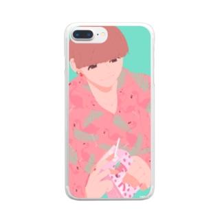 柄シャツ Clear smartphone cases