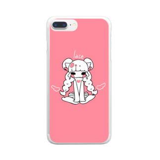 rn_clockの天使れーす Clear smartphone cases