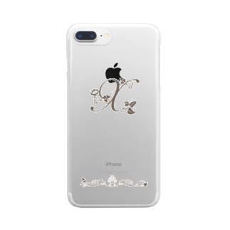 sonoteniのアルファベット イニシャル ボタニカル X #152 Clear smartphone cases