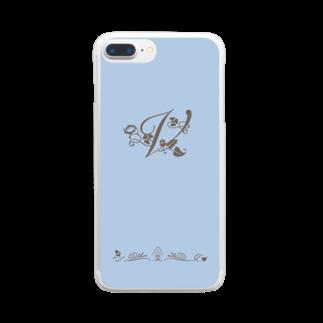 sonoteniのアルファベット イニシャル ボタニカル ブルー V #175 Clear smartphone cases