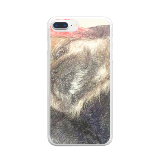 Lost'knotのペキニーズ犬ソノ名ワ「たぬき」 Clear smartphone cases