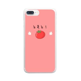 とまと!&お花スマホケース Clear smartphone cases