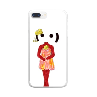 顔文字姫_バラのミニドレス Clear smartphone cases